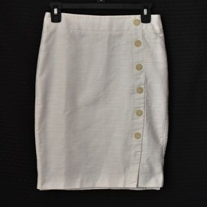 LOFT ivory pencil skirt with buttons